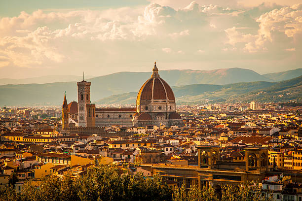 Duomo ? Florence, Italy View of the Duomo Santa Maria del Fiore in Florence, Italy photographed from Piazzale Michelangelo on a late afternoon in August. florence italy stock pictures, royalty-free photos & images