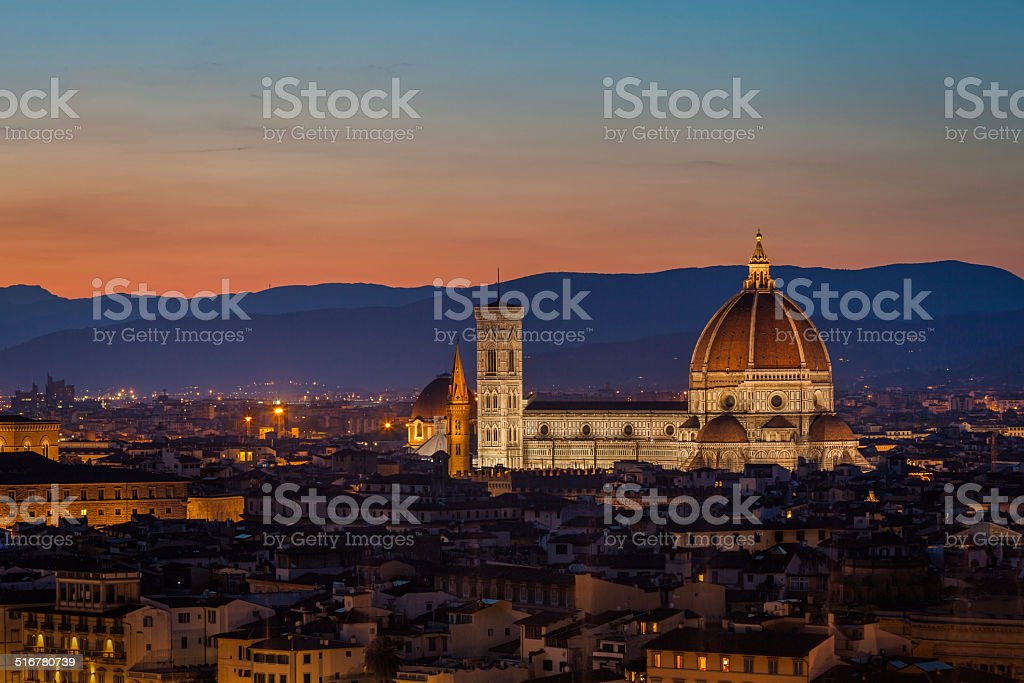 Duomo of Florence at dusk stock photo