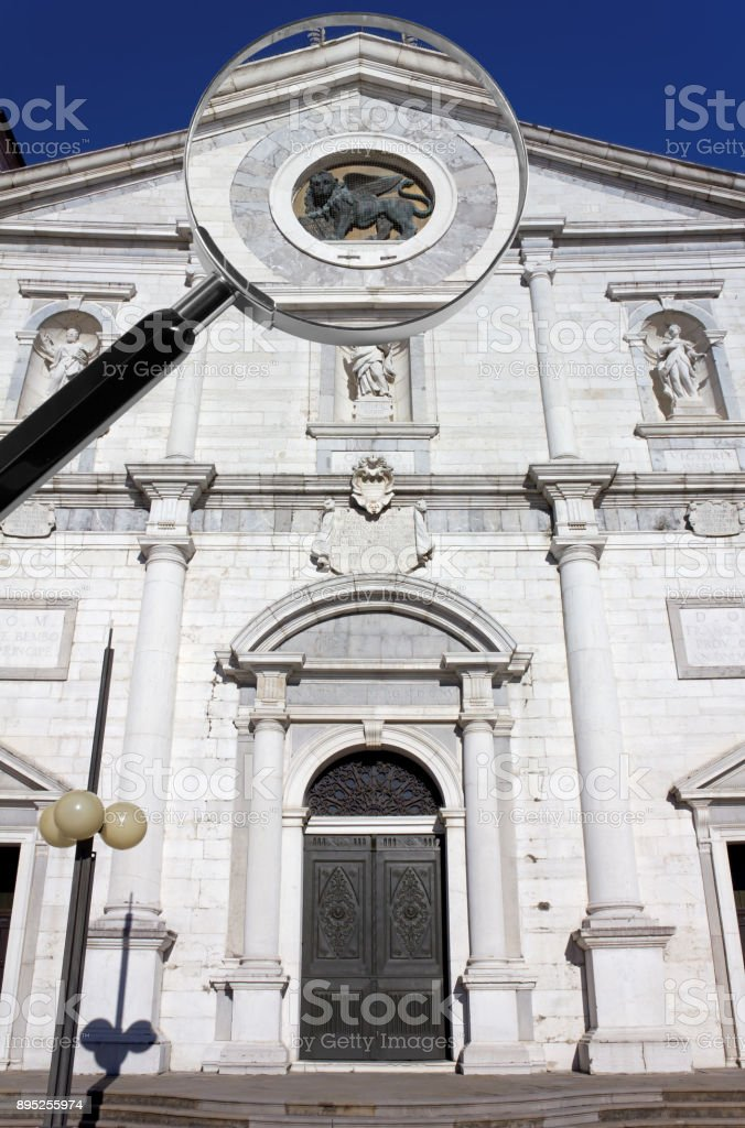 Duomo of Palmanova under the Magnifying Glass stock photo