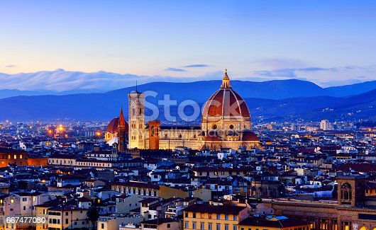 Duomo Santa Maria Del Fiore and florence cityscape at sunset, Florence, Italy.