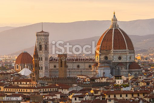 Duomo Santa Maria Del Fiore With Cityscape Against Sky at Dusk, Florence, Italy