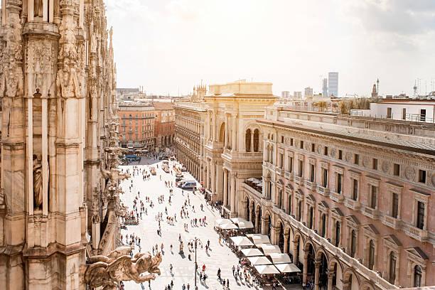 Duomo square in Milan stock photo