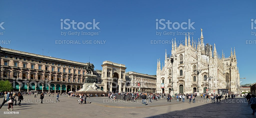 Duomo Square Milan with tourists in spring stock photo
