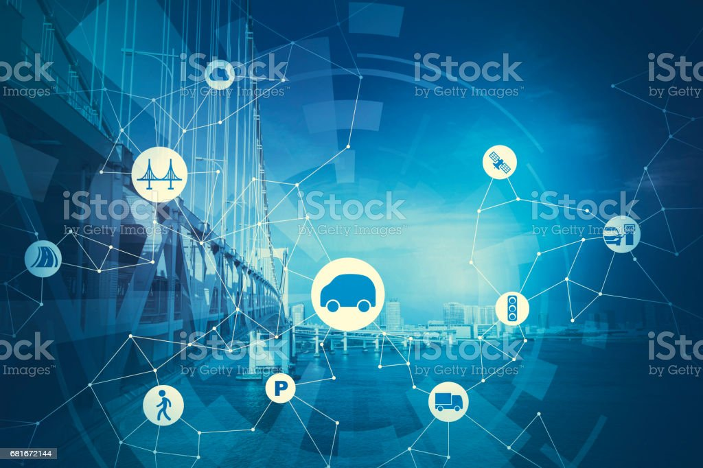 duotone graphic of modern transportation and communication network, intelligent vehicle, smart transportation, internet of things, abstract image visual stock photo