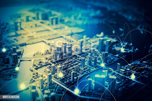685306538 istock photo duotone graphic of smart city and communication network concept IoT(Internet of Things), ICT(Information Communication Technology), digital transformation, abstract image visual 685306538