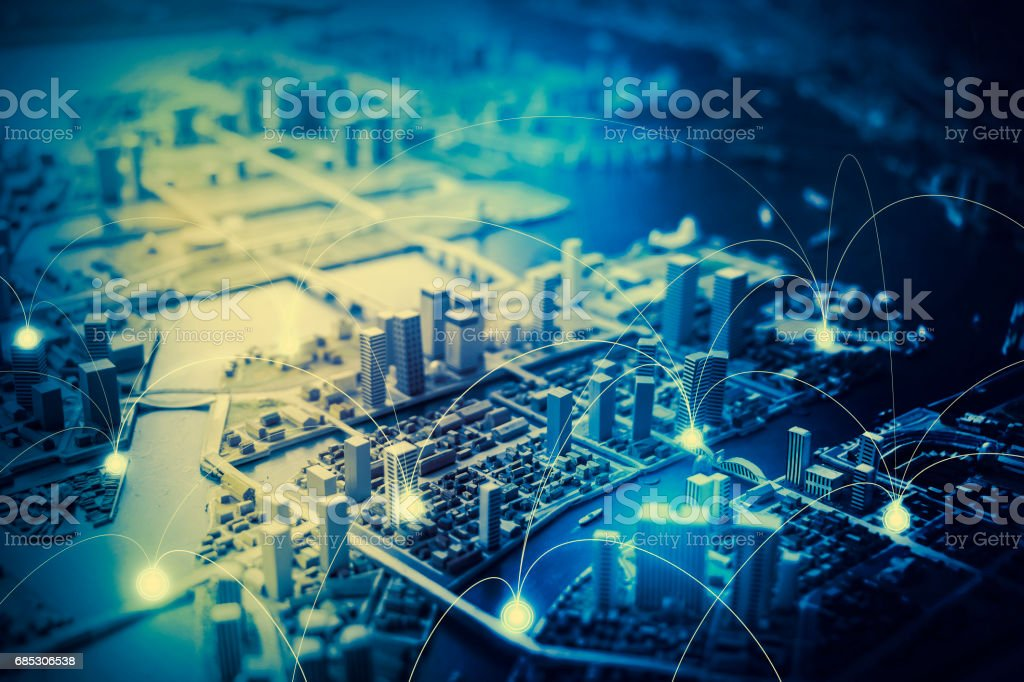 duotone graphic of smart city and communication network concept IoT(Internet of Things), ICT(Information Communication Technology), digital transformation, abstract image visual stock photo