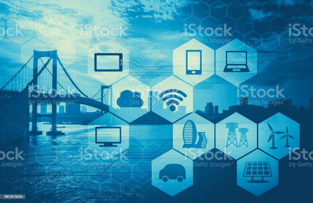 duotone graphic of smart city and internet of things, abstract image visual stock photo