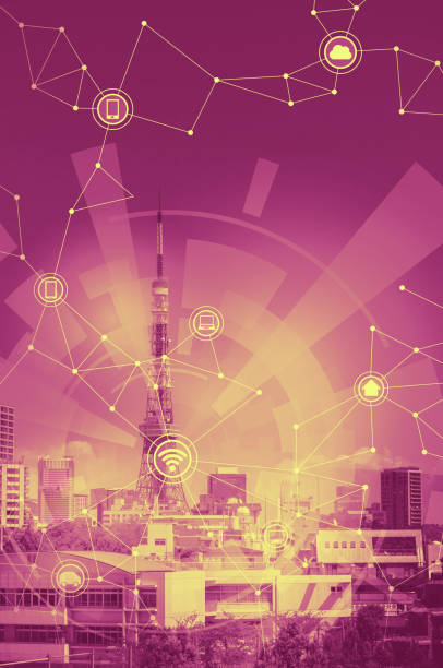 duotone graphic of smart city landscape and wireless communication network, abstract image visual stock photo