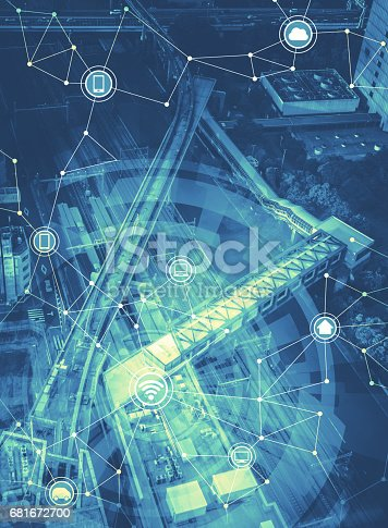 861165648istockphoto duotone graphic of smart city landscape and wireless communication network, abstract image visual 681672700