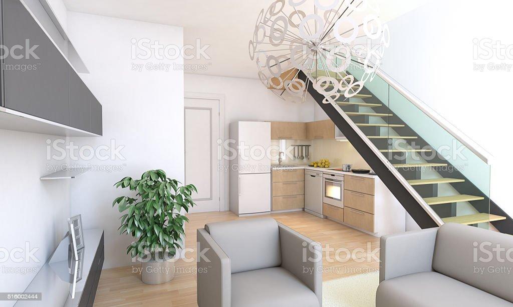 Duplex Living Room Combined Kitchen Interior Design Stock ...