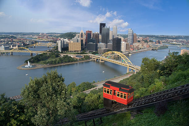 Duquesne Incline The Duquesne Incline overlooking downtown Pittsburgh, Pennsylvania. pittsburgh bridge stock pictures, royalty-free photos & images