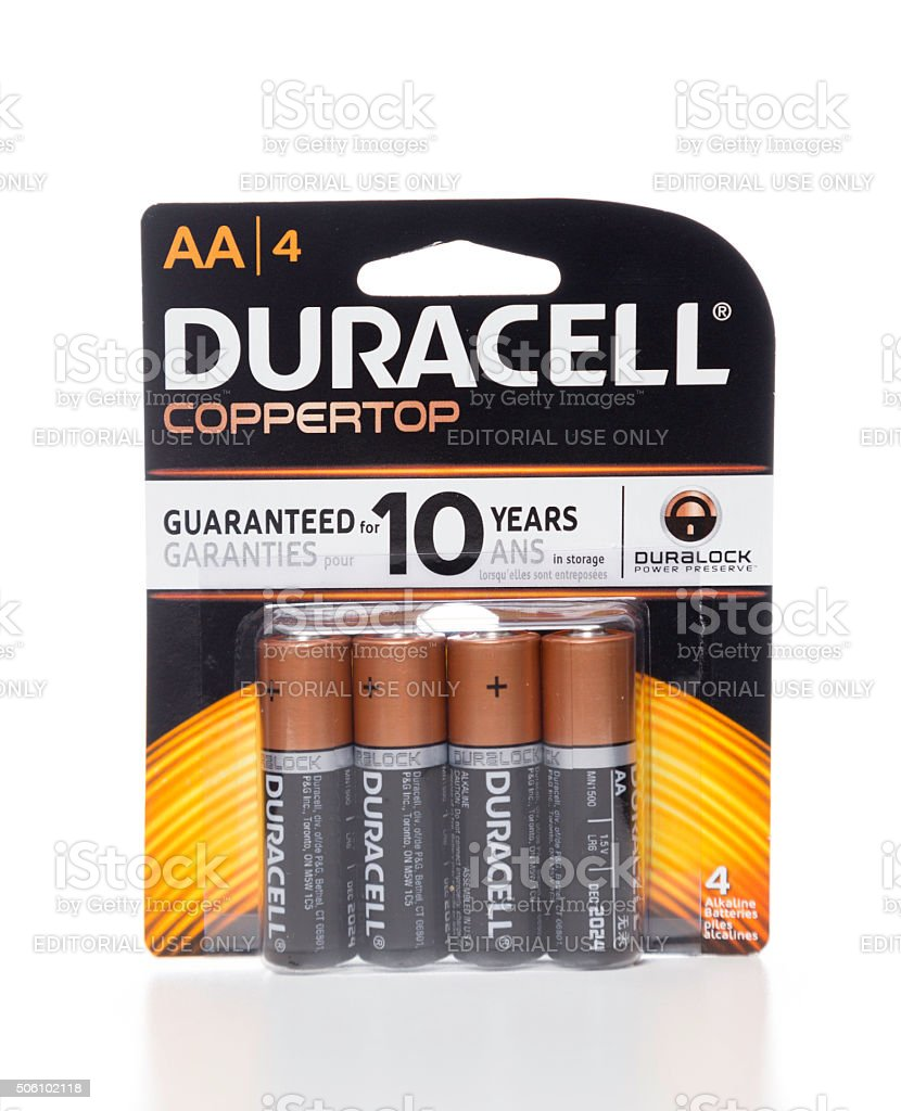 Duracell AA coppertop 4 batteries package stock photo