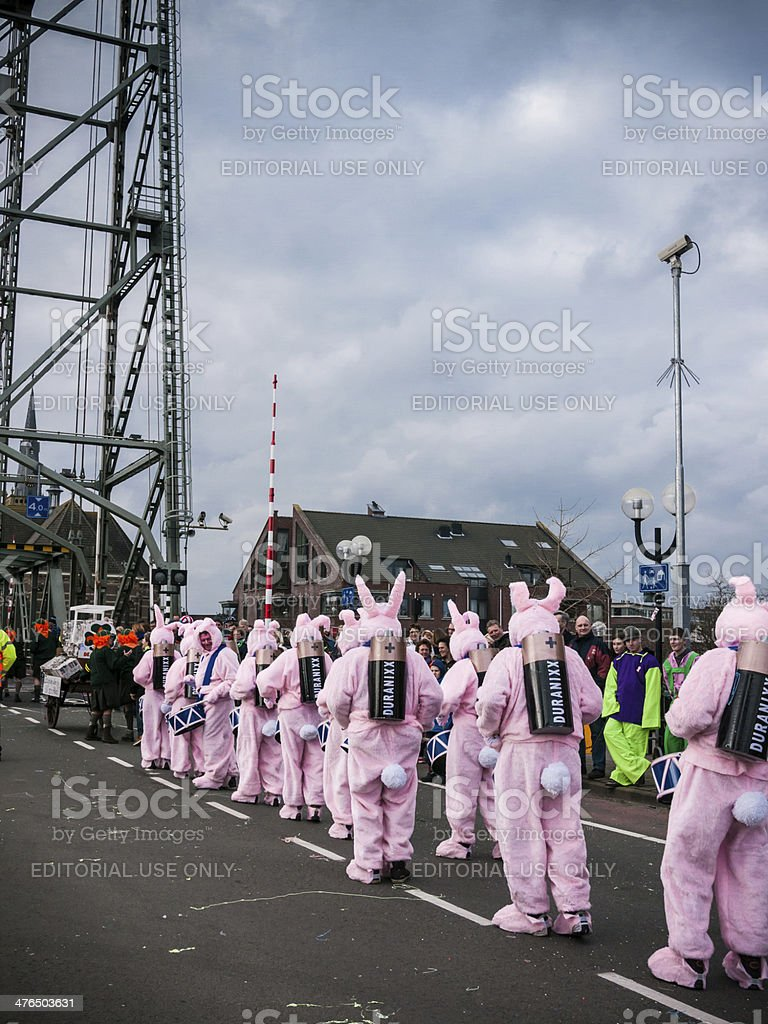 Duracell bunnies crossing the bridge stock photo