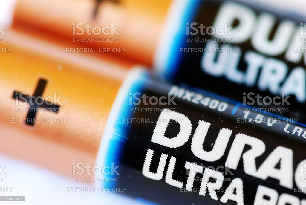 Duracell ultra power batteries type AAA close-up macro. stock photo