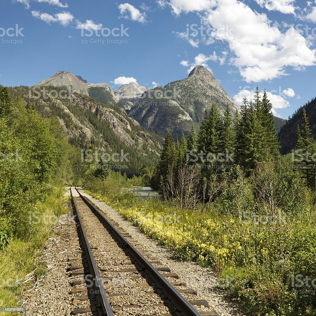 Durango and Silverton Narrow Gauge Railroad Tracks stock photo
