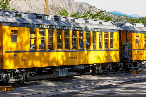 Durango and Silverton Narrow Gauge Railroad yellow railroad train carriage stock photo