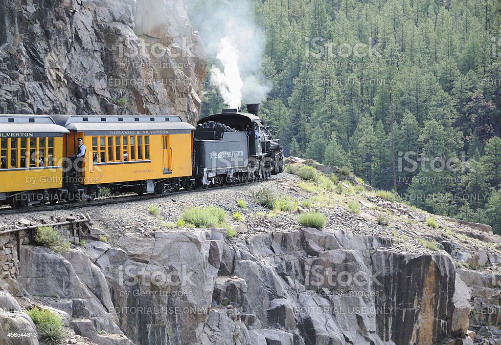 Durango and Silverton train rounding mountain curve stock photo