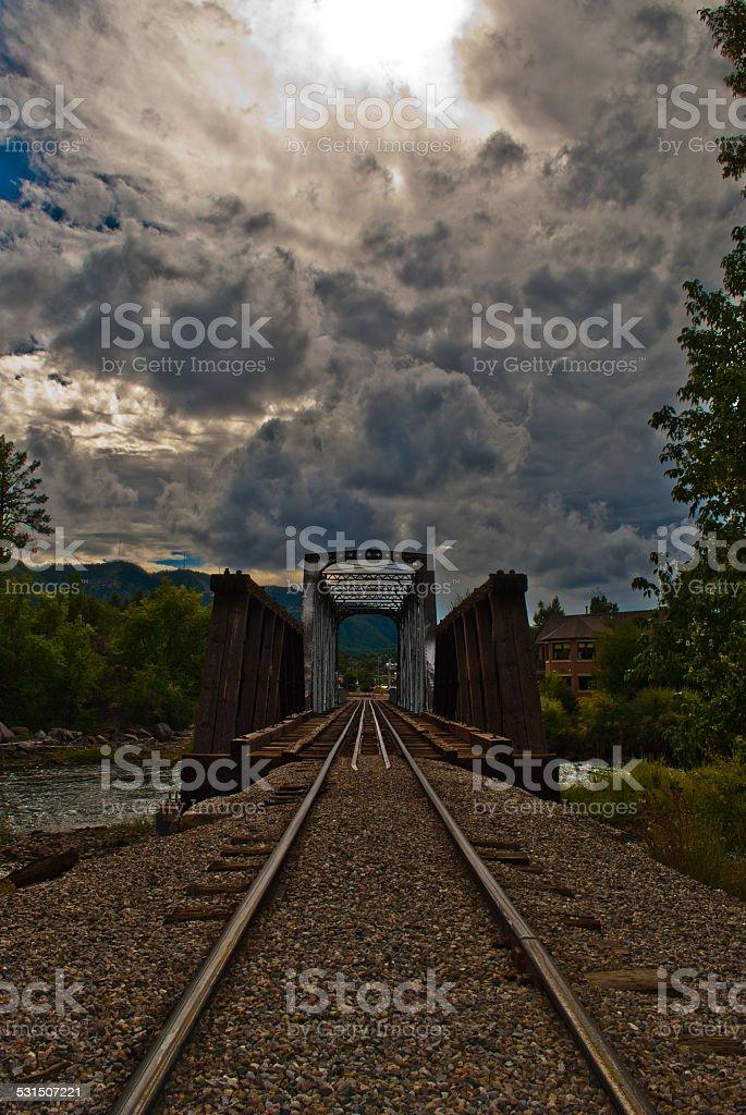 Durango Colorado Train Bridge into the Clouds Above stock photo