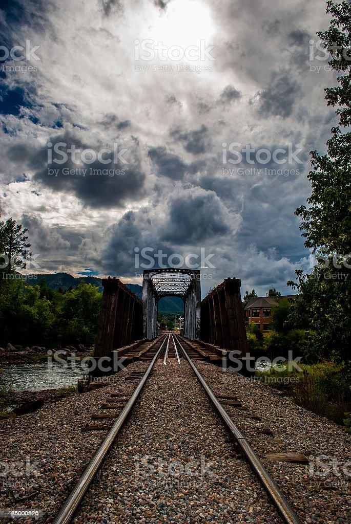 Durango Railroad Crossing Bridge over Animas River stock photo