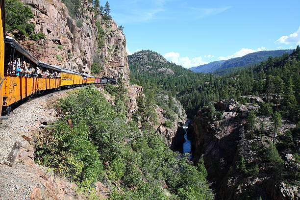 Durango & Silverton Railroad in the Animas River Gorge stock photo