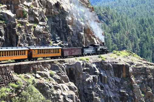 Durango, Colorado, USA - August 12, 2007: The Durango and Silverton Narrow Gauge Railroad train, pulled by steam locomotive number 482, traverses the