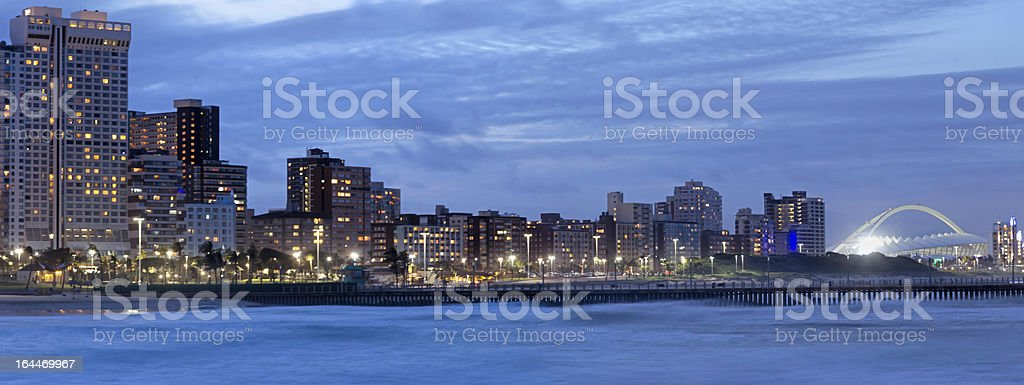 Durban City Evening with Stadium stock photo