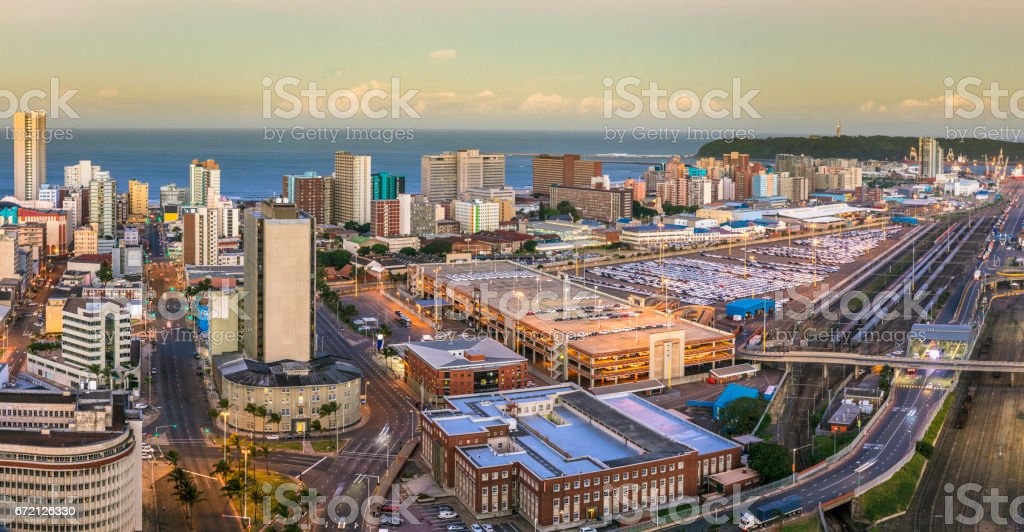 Durban cityscape centre panorama with the harbour stock photo