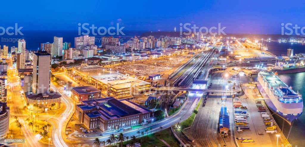 Durban cityscape evening panorama with the harbour stock photo