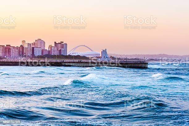 Durban Seafront With World Cup Stadium Stock Photo - Download Image Now