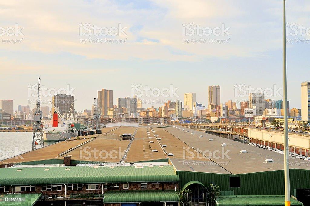 Durban Skyline And Wharf royalty-free stock photo