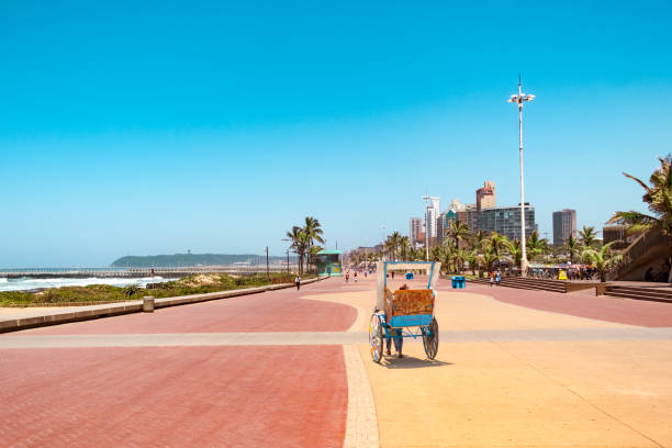 Durban south africa promenade rickschaw Promenade of Durban with traditional rickshaw driving on it south africa stock pictures, royalty-free photos & images