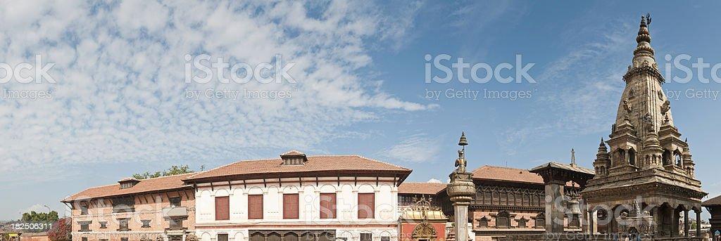 Durbar Square Bhaktapur Kathmandu UNESCO World Heritage Site panorama Nepal royalty-free stock photo