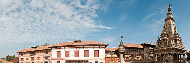 Durbar Square Bhaktapur Kathmandu UNESCO World Heritage Site panorama Nepal stock photo