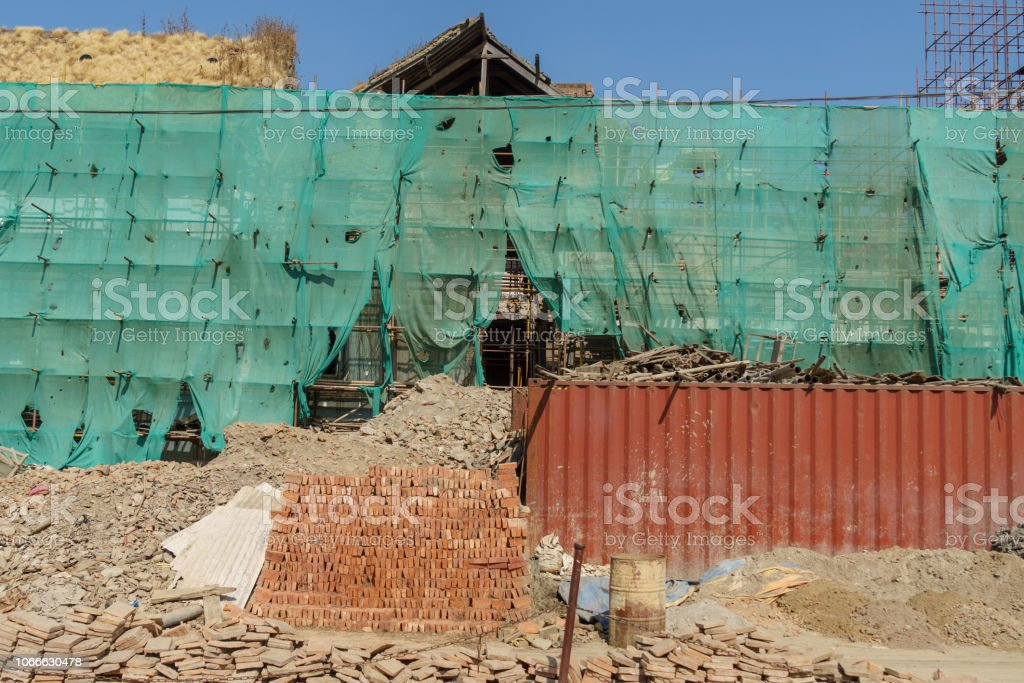 Durbar Square temples and carvings stock photo