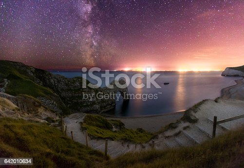A tranquil night scene at Durdle showing stairways curving down to the beach. You can see the famous Durdle Door act and the Milky Way Galaxy in the sky.