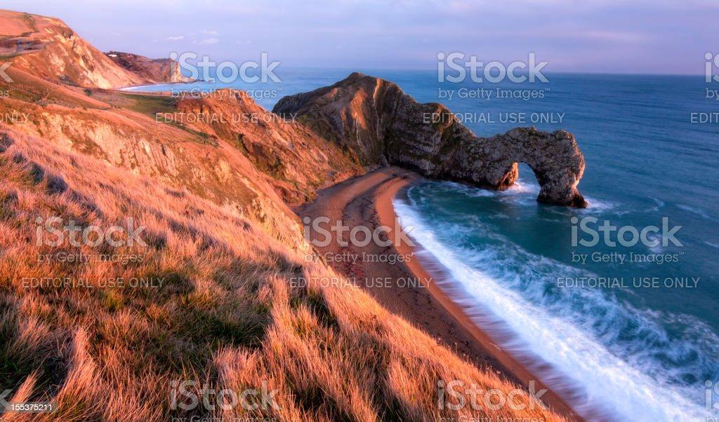 Durdle Door Beach Sunset royalty-free stock photo