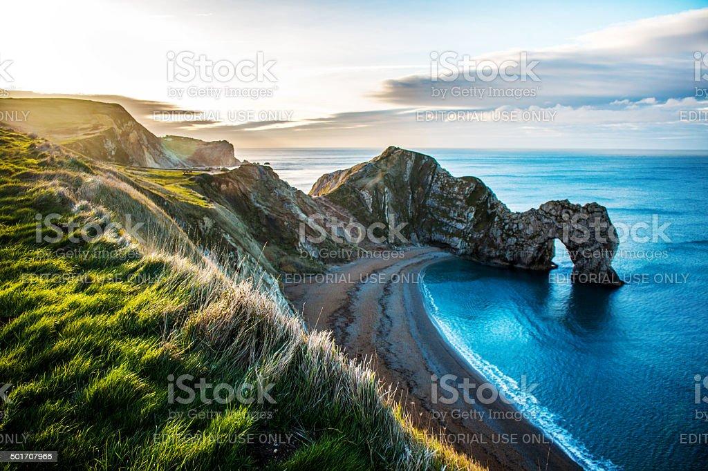 Puerta de Durdle hermosa playa de Dorset - foto de stock
