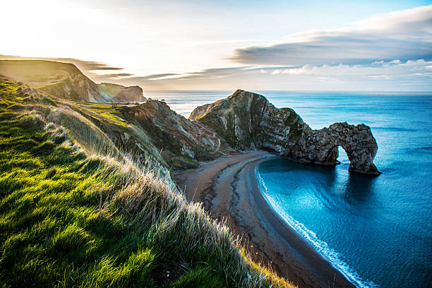 durdle door, dorset beach - engeland stockfoto's en -beelden