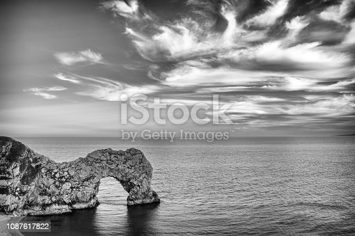 durdle door in black and white