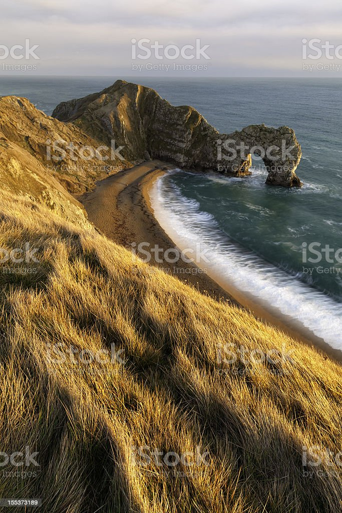 Durdle Door with Golden Light royalty-free stock photo