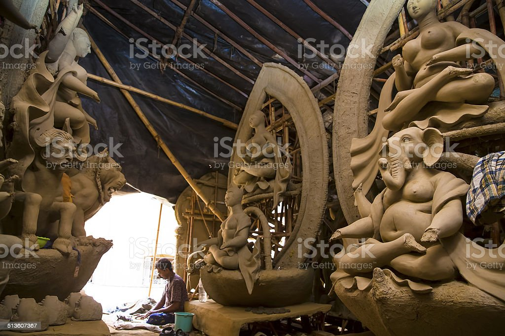 Durga Idols in the making stock photo