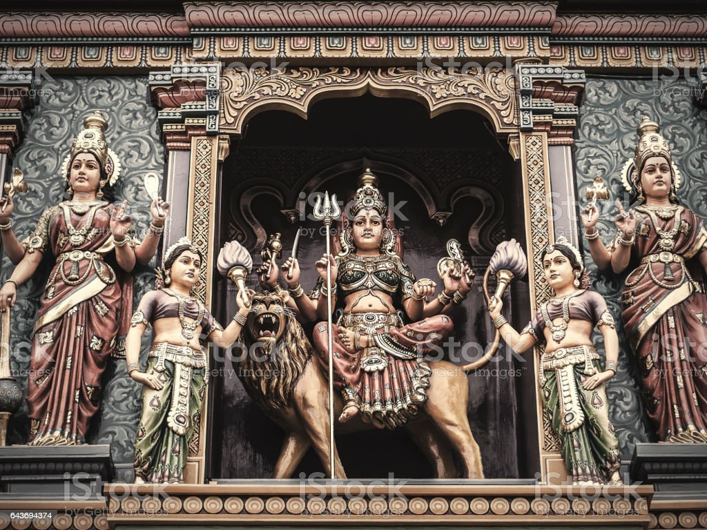 Durga in Sri Vadapathira Kaliamman Temple Singapore stock photo