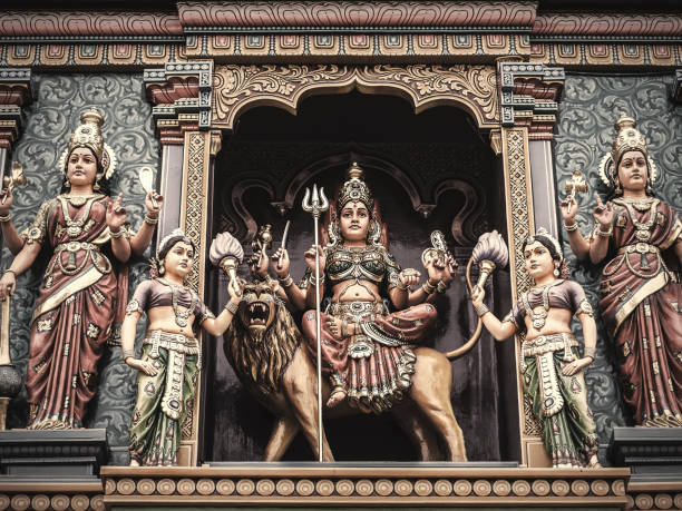 durga in sri vadapathira kaliamman temple singapore - hinduism stock photos and pictures