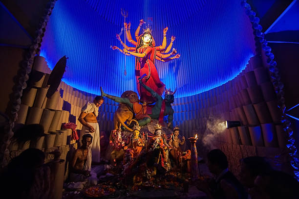 KOLKATA , INDIA - OCTOBER 12, 2013 : Durga Puja festival stock photo