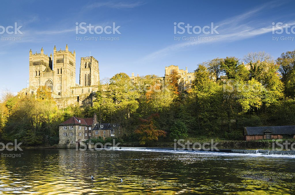 Durham Cathedral above River Wear stock photo