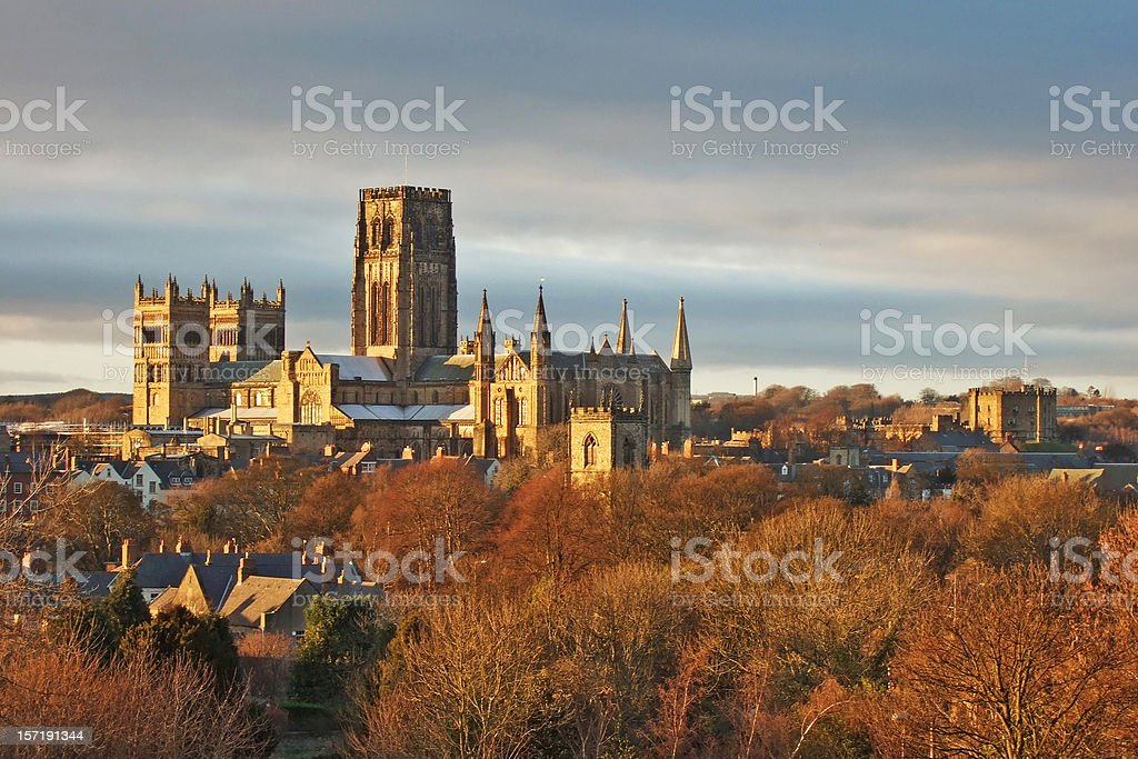 Durham Cathedral and Castle in Winter stock photo