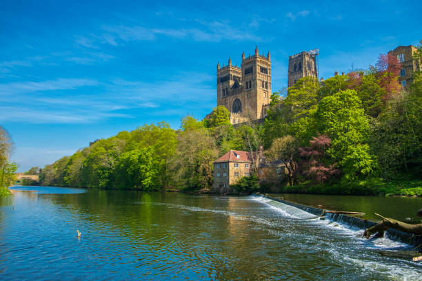 Durham Cathedral and River Wear in Spring in Durham, England stock photo
