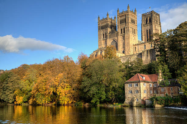 Durham Cathedral and the Old Fulling Mill stock photo