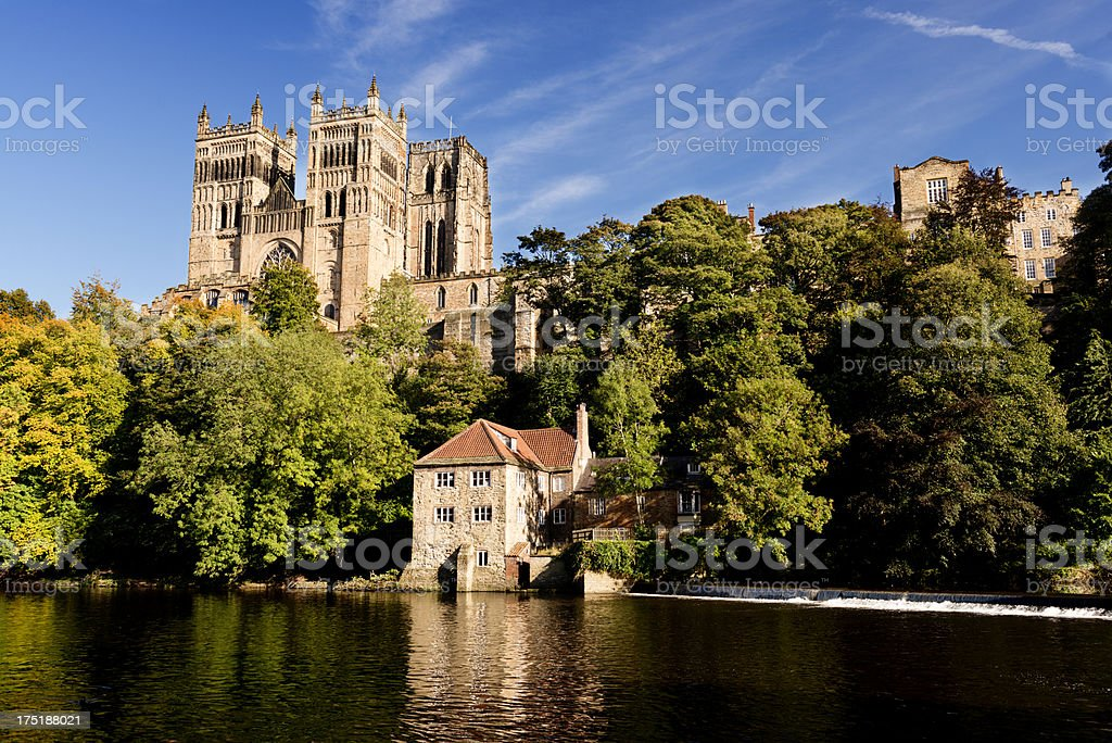Durham Cathedral and the River Wear Autumn Light stock photo