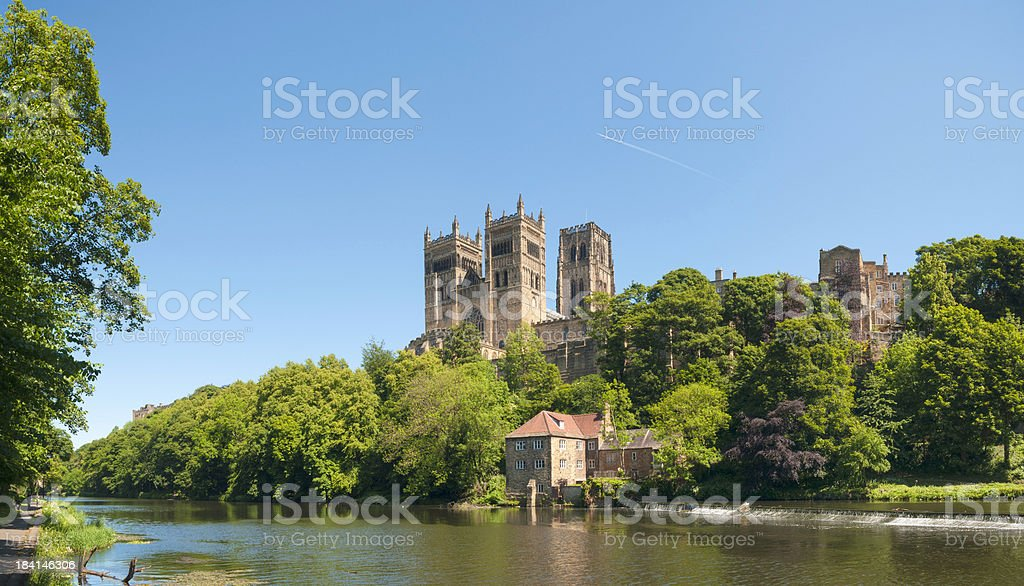 Durham Cathedral, Fulling Mill and River Wear, UK stock photo